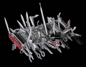 Photo: Swiss Army Knife multi-tool - metaphor for the new all-in-one HCM human capital management suite