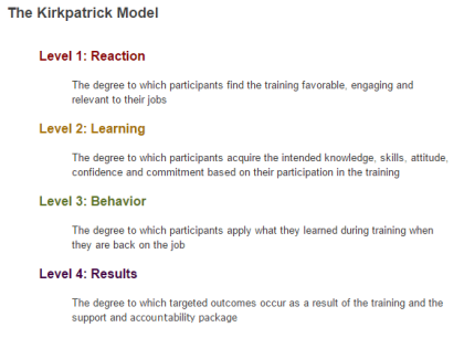 Learning Evaluation Kirkpatrick Model